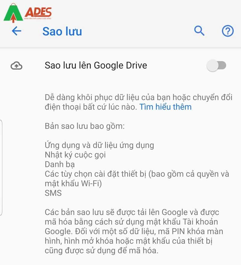 Xuat hien dong Sao luu len Google Drive